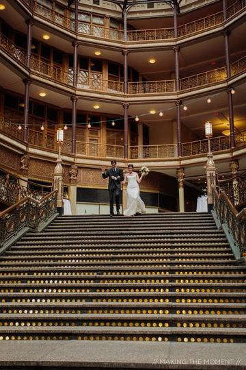 Bride and groom entrance on grand staircase