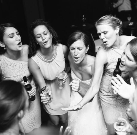 Wedding celebration in black and white