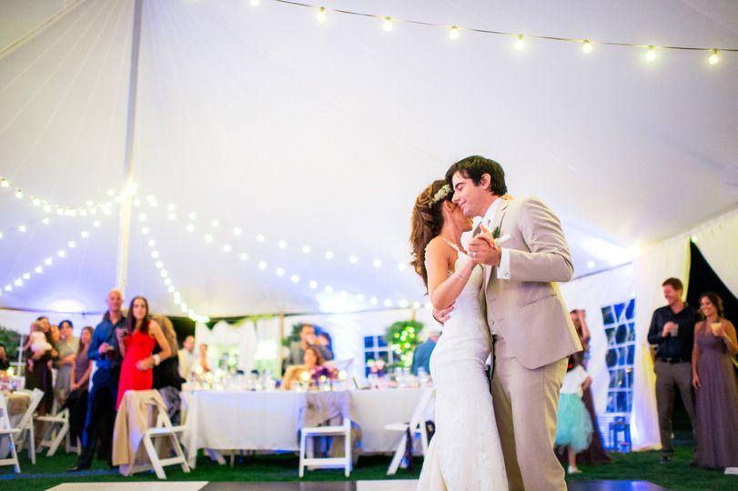 Bride & Groom Dancing in Tented Wedding