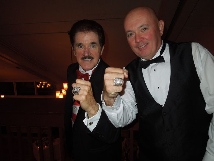 Rene Rancourt and Dan with their Bruins Stanley Cup Rings