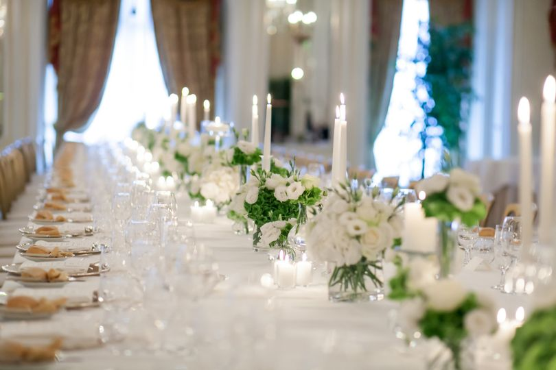 One very long table for all the wedding guests