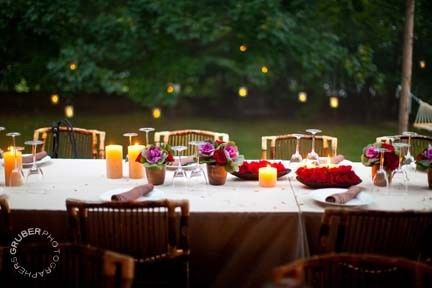 Glowing lanterns in the trees add a romantic touch