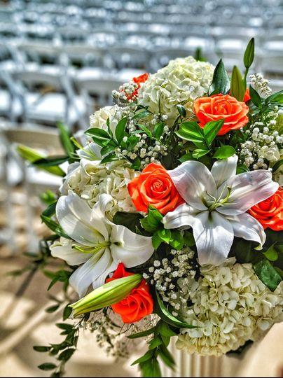 Garden patio wedding flowers