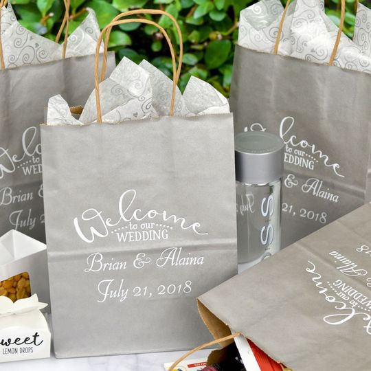 Personalized wedding hotel welcome bags