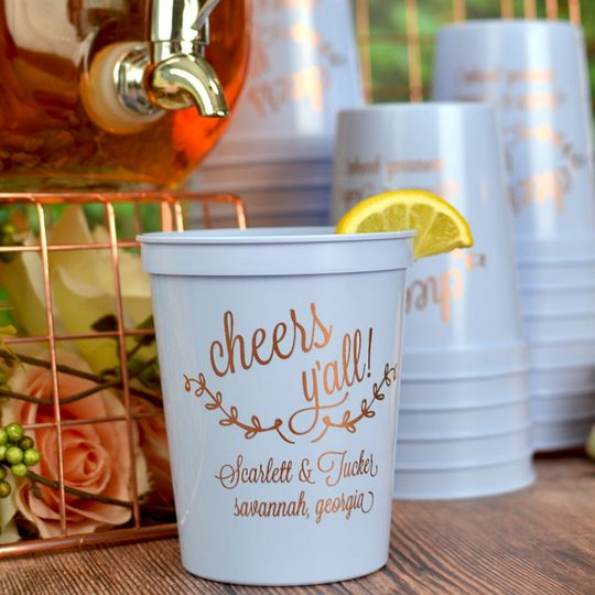 Plastic wedding souvenir cups personalized