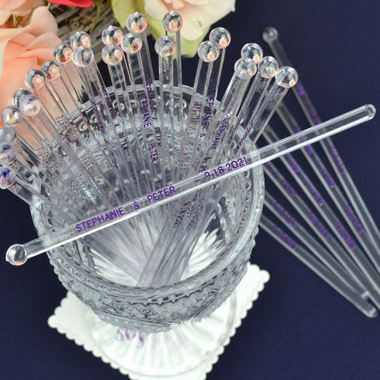 Personalized wedding drink stirrers