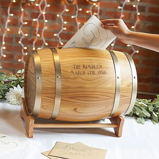 Personalized wine barrel gift card holder