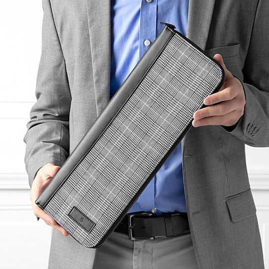 Personalized plaid tie travel case for groomsmen gifts