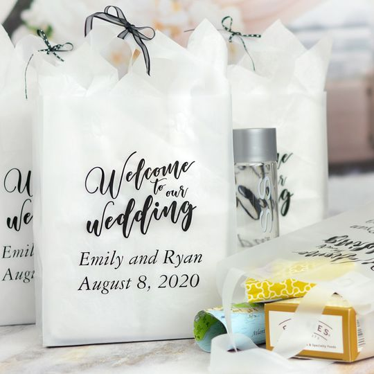 Semi-transparent clear frosted wedding welcome bags personalized