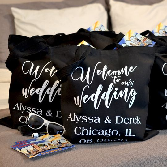 Canvas wedding welcome bags