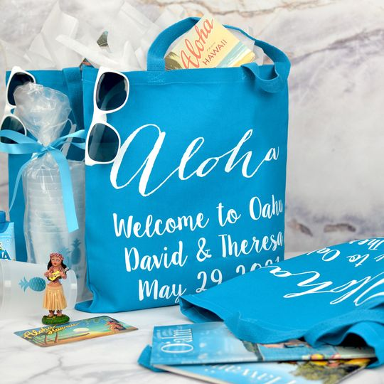Blue canvas wedding welcome bags