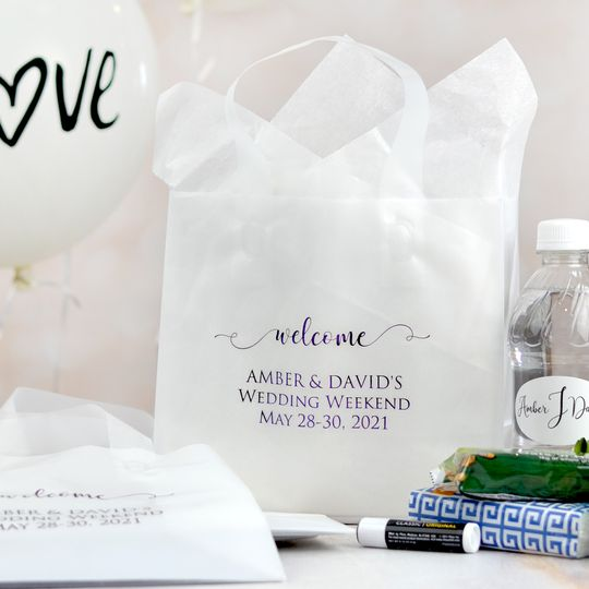 Personalized white wedding gift bags