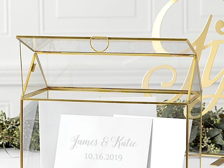 Tmx Gold Trim Glass Terrarium Gift Card Holder Personalized Lg 51 6178 Willard, Ohio wedding favor