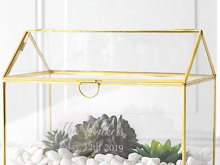 Tmx Gold Trim Glass Terrarium Personalized Centerpiece Succulents Lg 51 6178 Willard, Ohio wedding favor