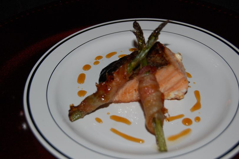 Grilled salmon with bourbon glaze withbacon wrapped grilled asparagus