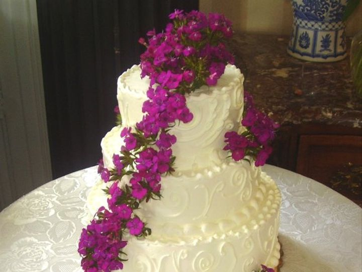 Tmx 1289240889941 Weddingcakepurpleflowers Plainview, NY wedding cake