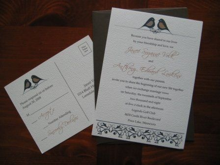 { SOPHIA } This vintage style love birds flat panel invitation is simple yet chic. This invitation...