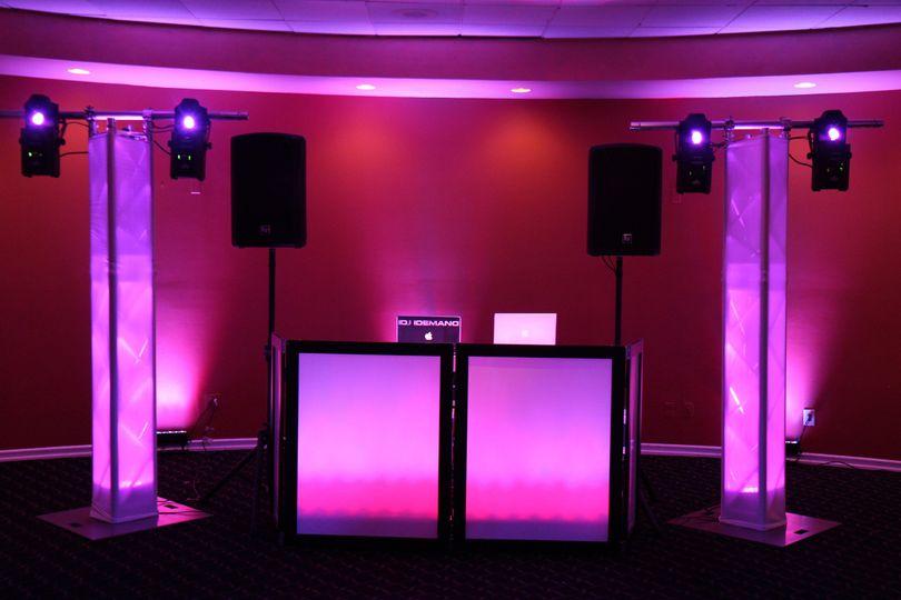 DJ booth and lights