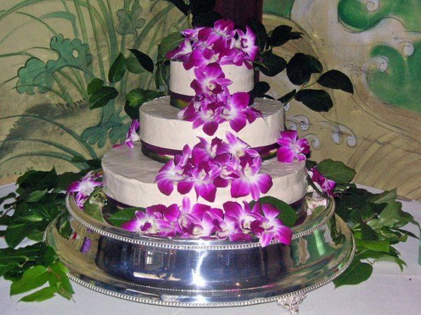 Gluten Free wedding cake with orchids