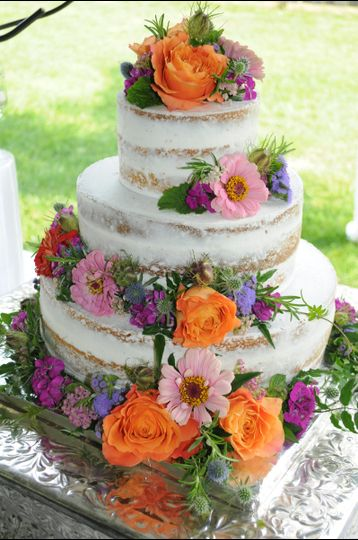 Cake adorned with flowers