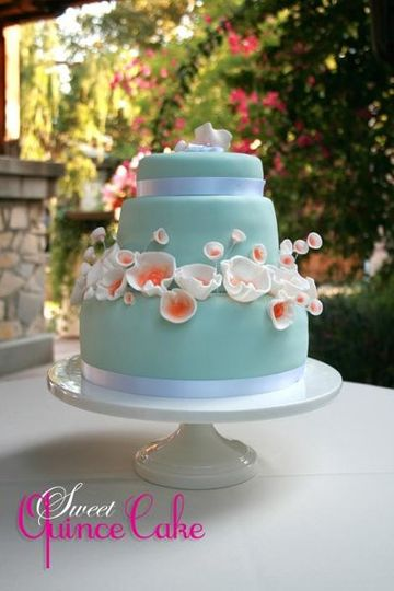 Wedding Cake with Blue Fondant and Sugar Buttercup Flowers