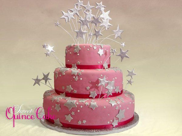 Quinceanera Cake with Pink Fondant and Silver Stars