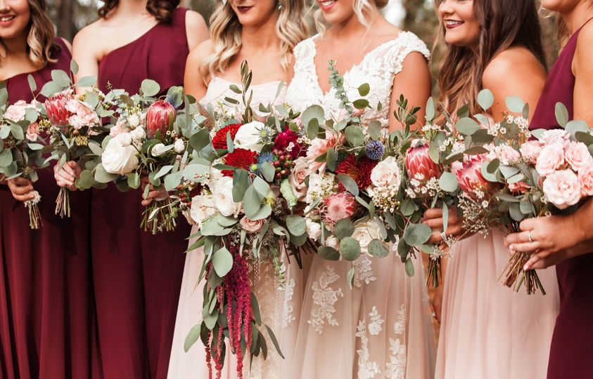 Burgundy/Blush bouquets