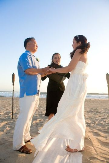 Officiant for Southern California beach wedding in Newport Beach.  Photo by Kat Monk.