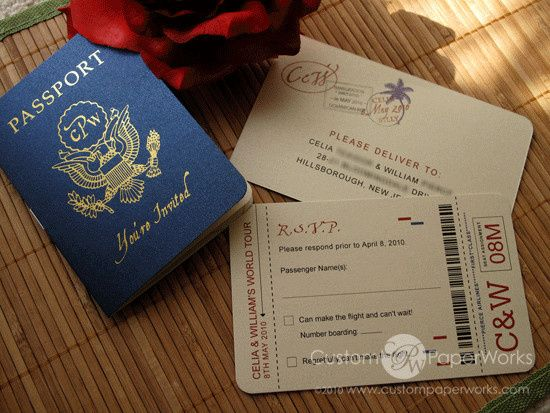 Passport invitations featuring a gold foil emblem and romantic beachy details. By Custom Paper Works...