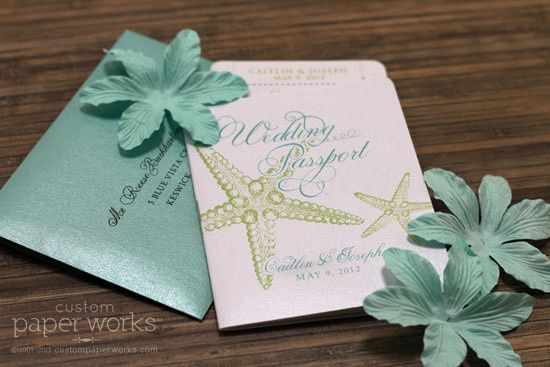 Starfish passport invitations in aqua and soft green - a whimsical romantic design great for beach...