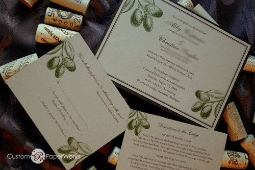 Olive-themed invitation for a wedding in Positano, Italy. Lovely for Napa and winery locations too....
