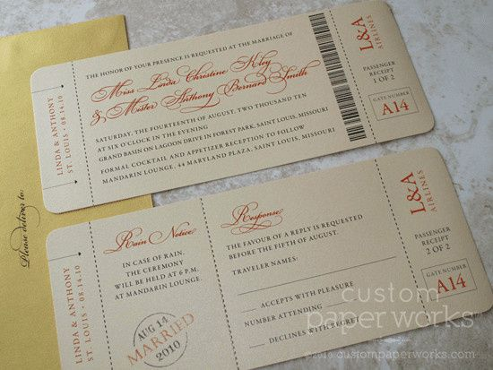 Travel theme wedding invitations in the form of a boarding pass! Still formal and somewhat...