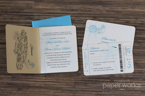 Inside of palm tree passport design. By Custom Paper Works www.custompaperworks.com