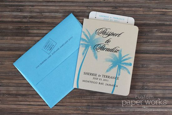 "Tropical palm tree ""passport to paradise"" invitations feature a back pocket to hold a boarding pass..."