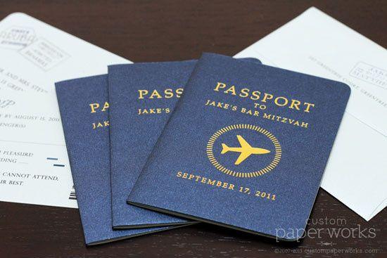 Bar Mitzvah passport invitation features a modern plane emblem. By Custom Paper Works...