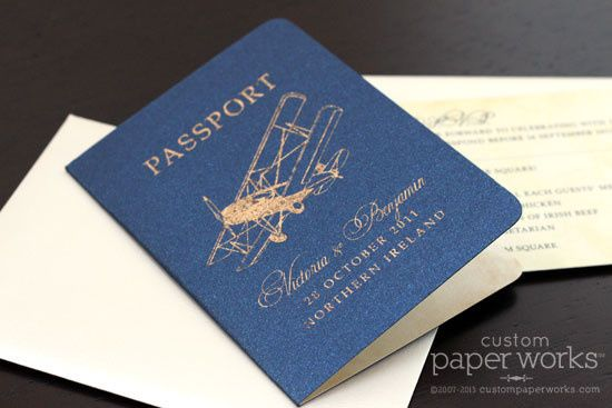 Vintage airplane passport invitations - unique antiqued foil technique. By Custom Paper Works...