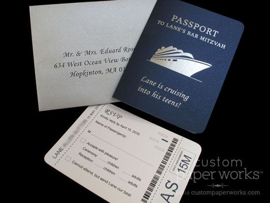 Cruise themed passport invitation created for a Bar Mitzvah at sea! By Custom Paper Works...