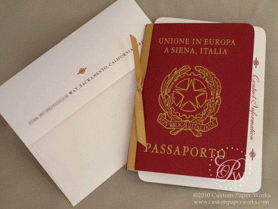 Italian passport invitation in red and white shimmer papers - By Custom Paper Works...