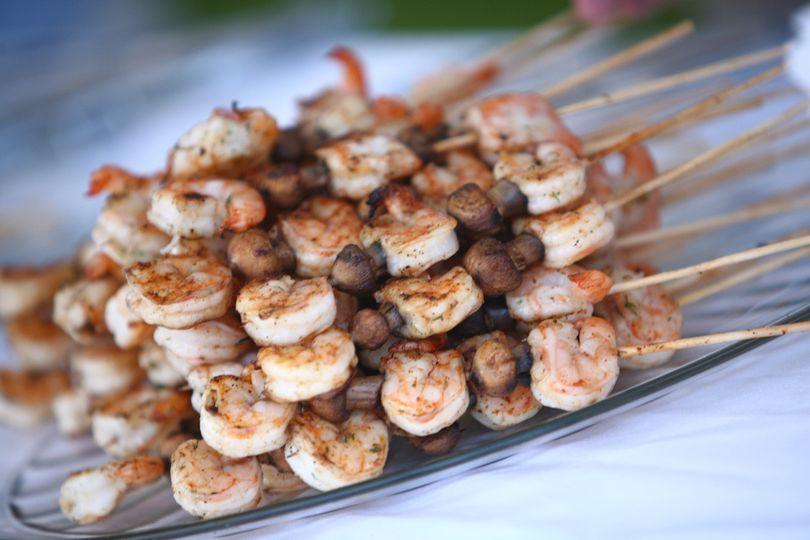 Grilled shrimp and mushroom