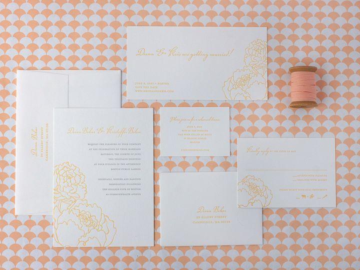 Tmx 1490895225815 Peoniesspread Jamaica Plain wedding invitation
