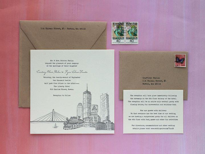 Tmx 1490896736223 Bostonskyline Spread Jamaica Plain wedding invitation
