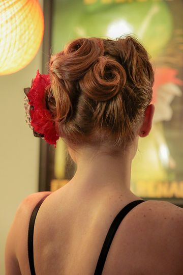Red floral ensemble