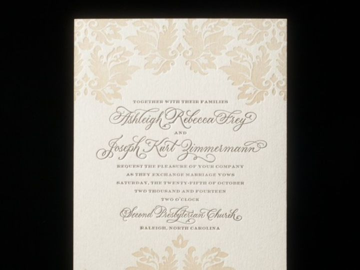 Tmx 1440104927643 Damask Letterpress Sample 1 576x576 3 Holmdel wedding invitation