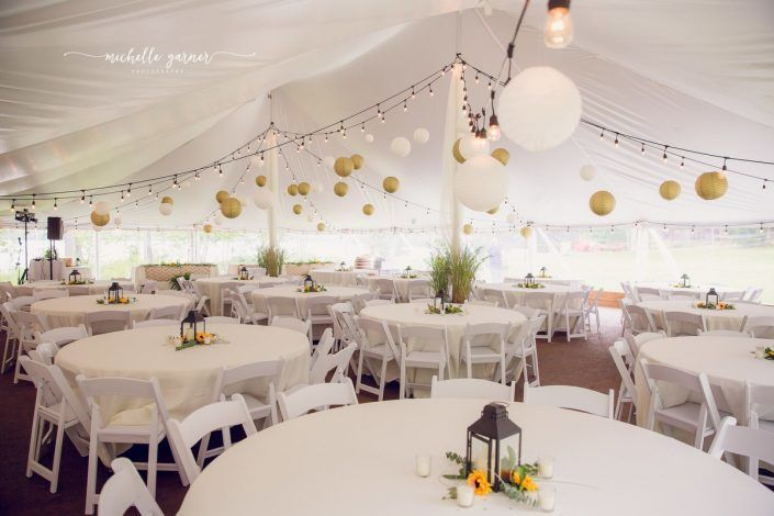 White reception setup