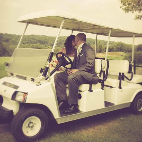 Kissing in the golf cart