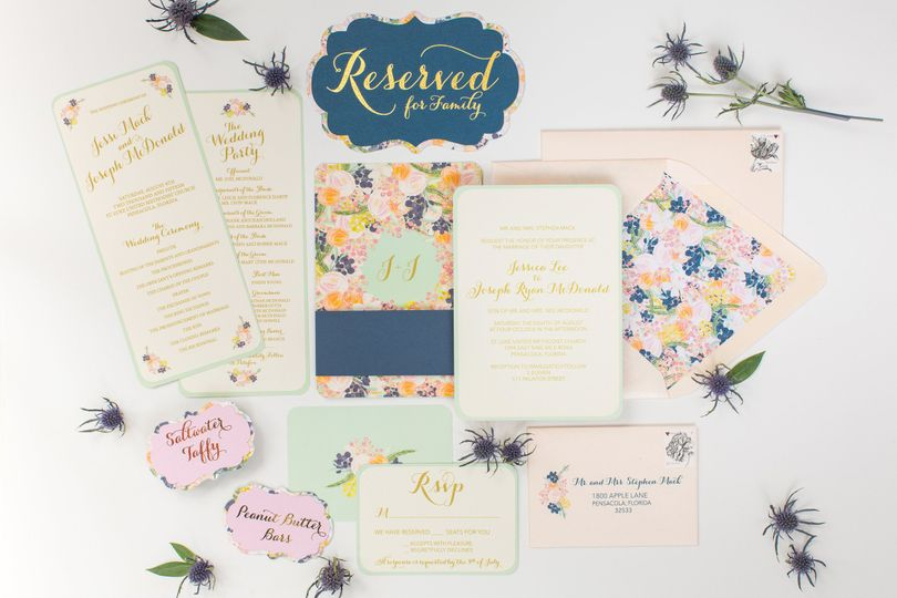 The LeFleur Collection - Peach, Navy, and Mint Floral Invitation Suite