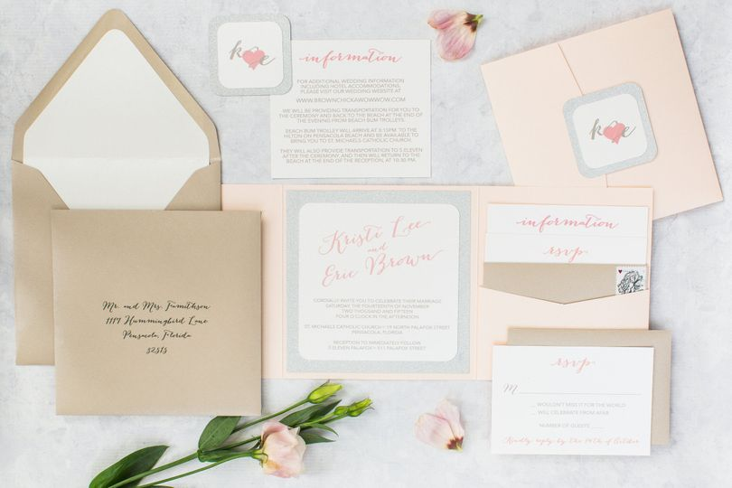 The Bombshell Suite - A Soft and Pearlized Blush and Champagne Pocket Invitation, with silver...