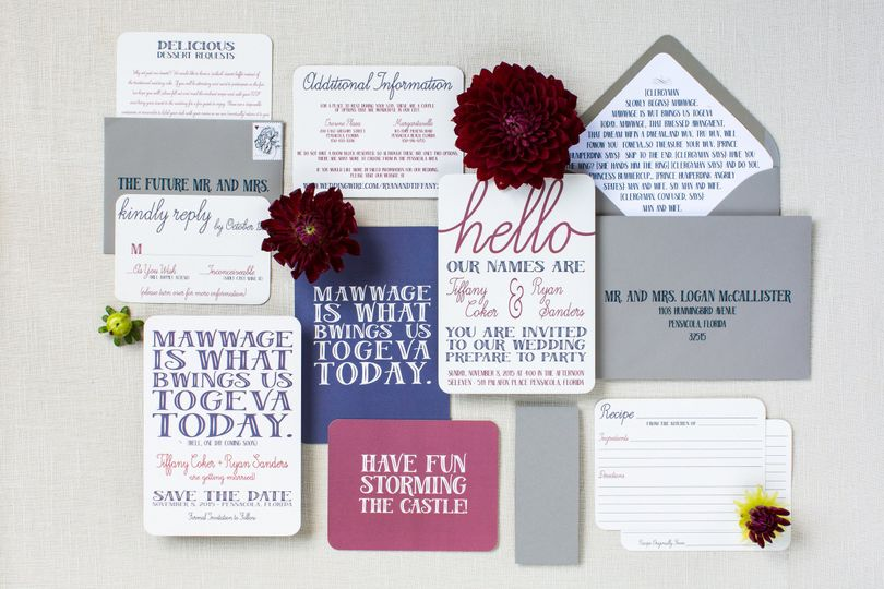 The Princess Bride Collection - designed based around the movie, with navy, marsala, and deep gray...