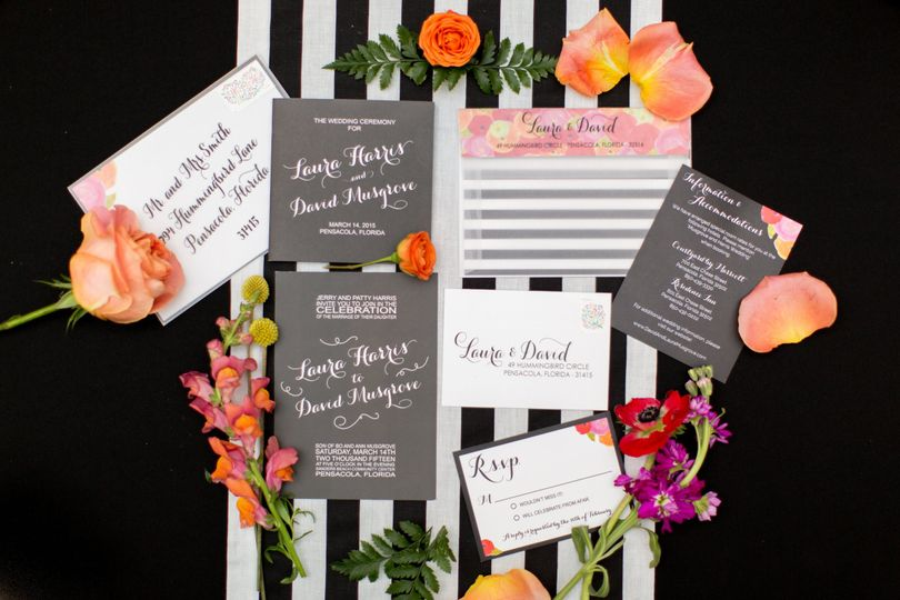 The Bold Florals Collection - black and white with pops of bright florals throughout enhance this...