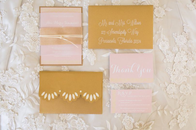 The Pearl and Blush Suite - pink and gold details with pearl and frosted details, with custom...